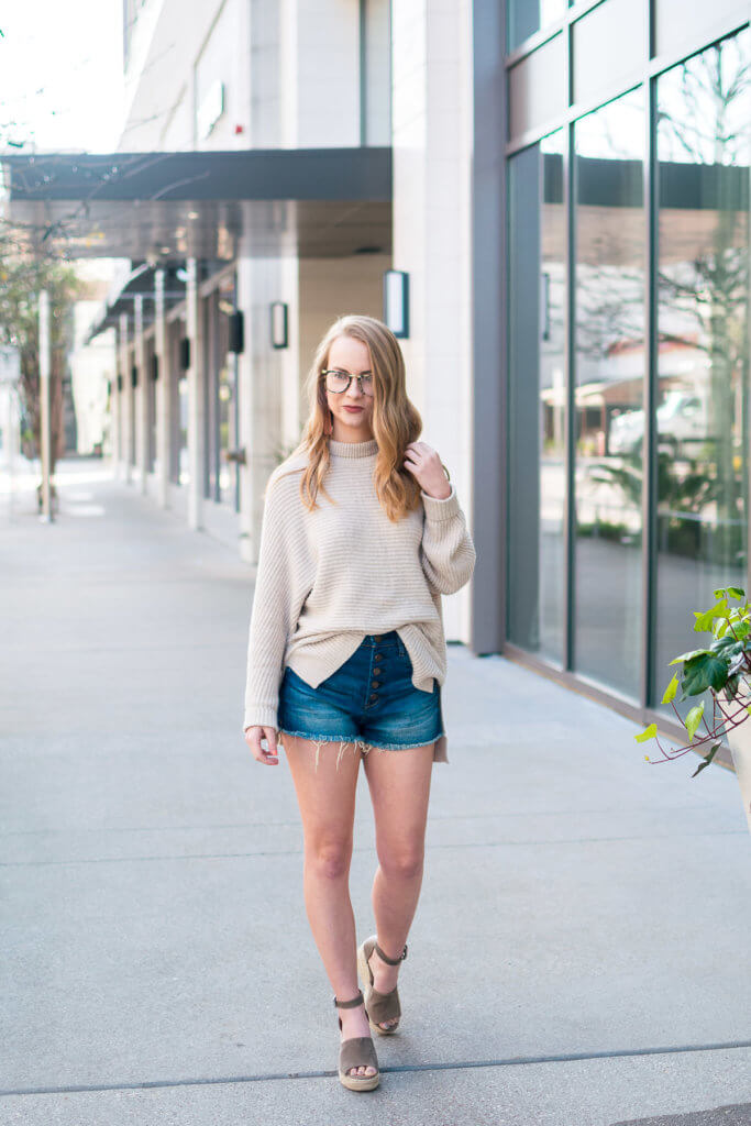 I love the look of sweaters and denim shorts and these wedges are THE shoe of spring. They take a little breaking in, but after they are super comfortable! The height is perfect, and I love how long my legs look wearing them! If you're still deciding whether or not to make the plunge for these shoes I say go for it!