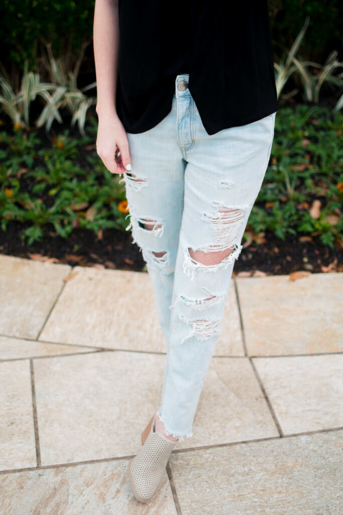 These pair of tomgirl jeans fit like a dream, and are my absolute favorite thing in my closet right now. They are super comfortable and have the perfect slouchy fit, yet are still flattering. Everyone needs that perfect pair of ripped denim!