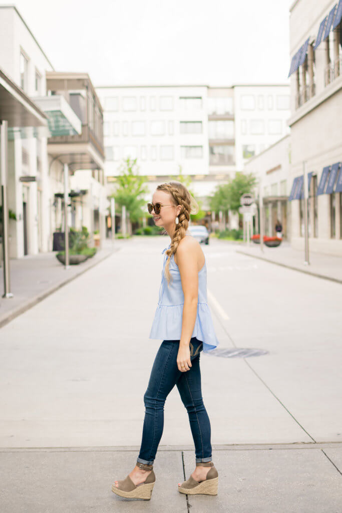 The perfect spring top for any body type. This poplin tank is under $30 and the prettiest color! The fit is perfect, and is such a flattering top!