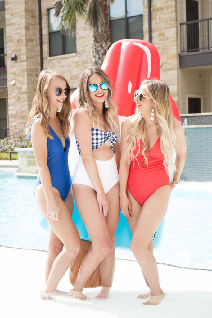 3 swimsuits perfect for the Fourth of July or any summer day! One piece swimsuits for summer, or Fourth of July festive plans. Perfect swimsuits for the Fourth | The Blonder Life