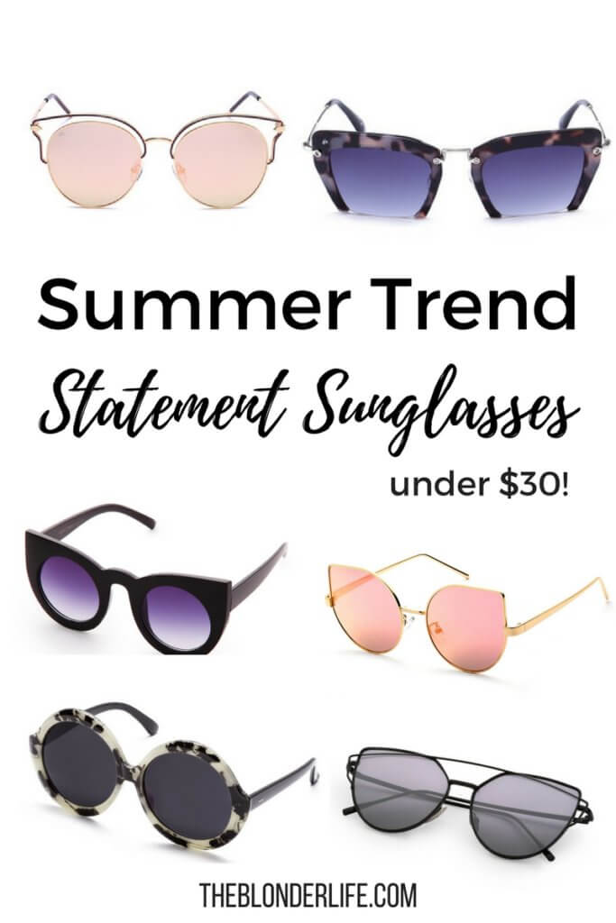 There's something so sassy and chic about a big pair of sunnies and your favorite denim shorts. This summer statement sunglasses are a big trend. I rounded up lots of great pair of statement sunglasses that are so affordable! Grab a few pairs of sunglasses to wear all summer long. The Blonder Life