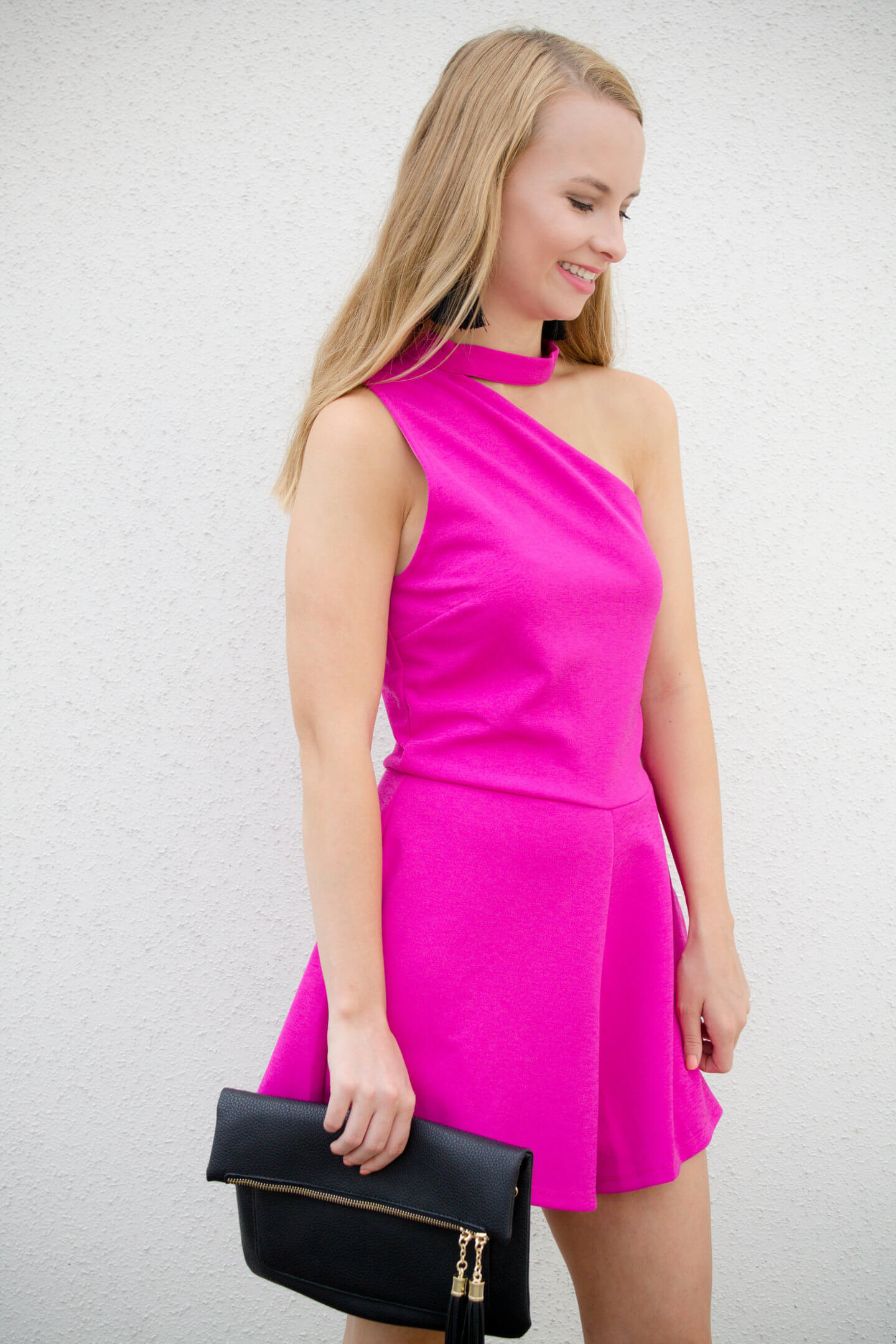 Pink one shoulder romper that is so flattering & would be perfect for a formal wedding. Cashmore Style one shoulder romper under $50. Hot pink affordable romper | The Blonder Life